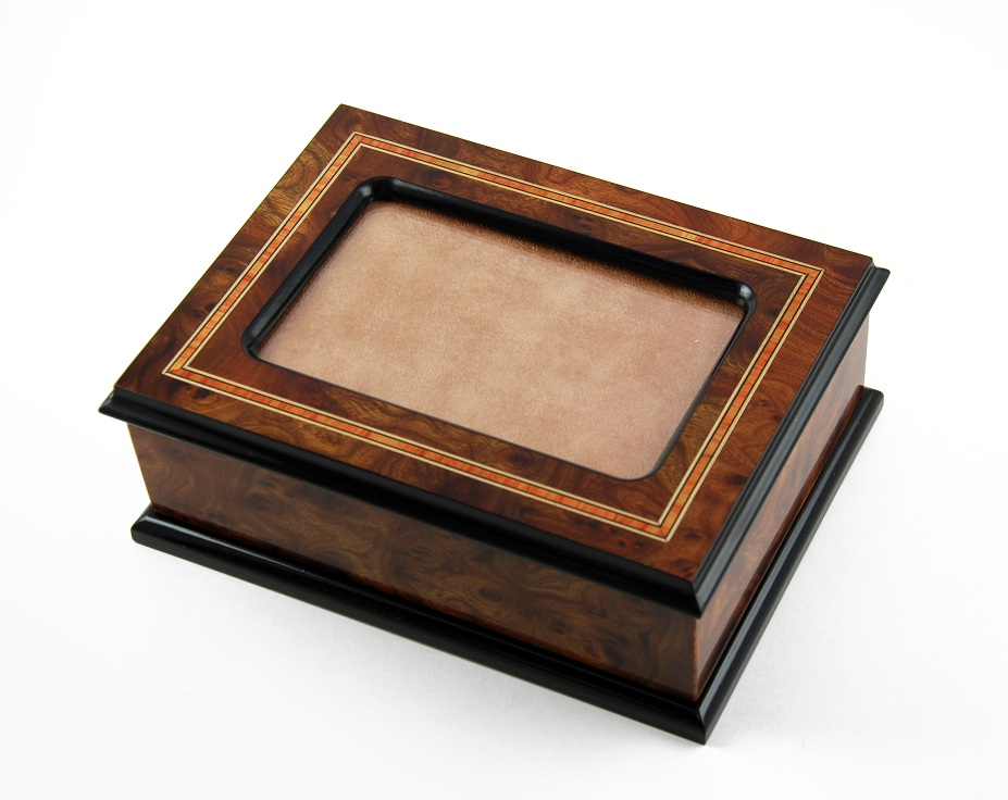 Exquisite Hand-Made 36 Note Contemporary Italian 4 x 6 Photo Frame Musical Jewelry Box with 36 Note Tune-America the Beautiful