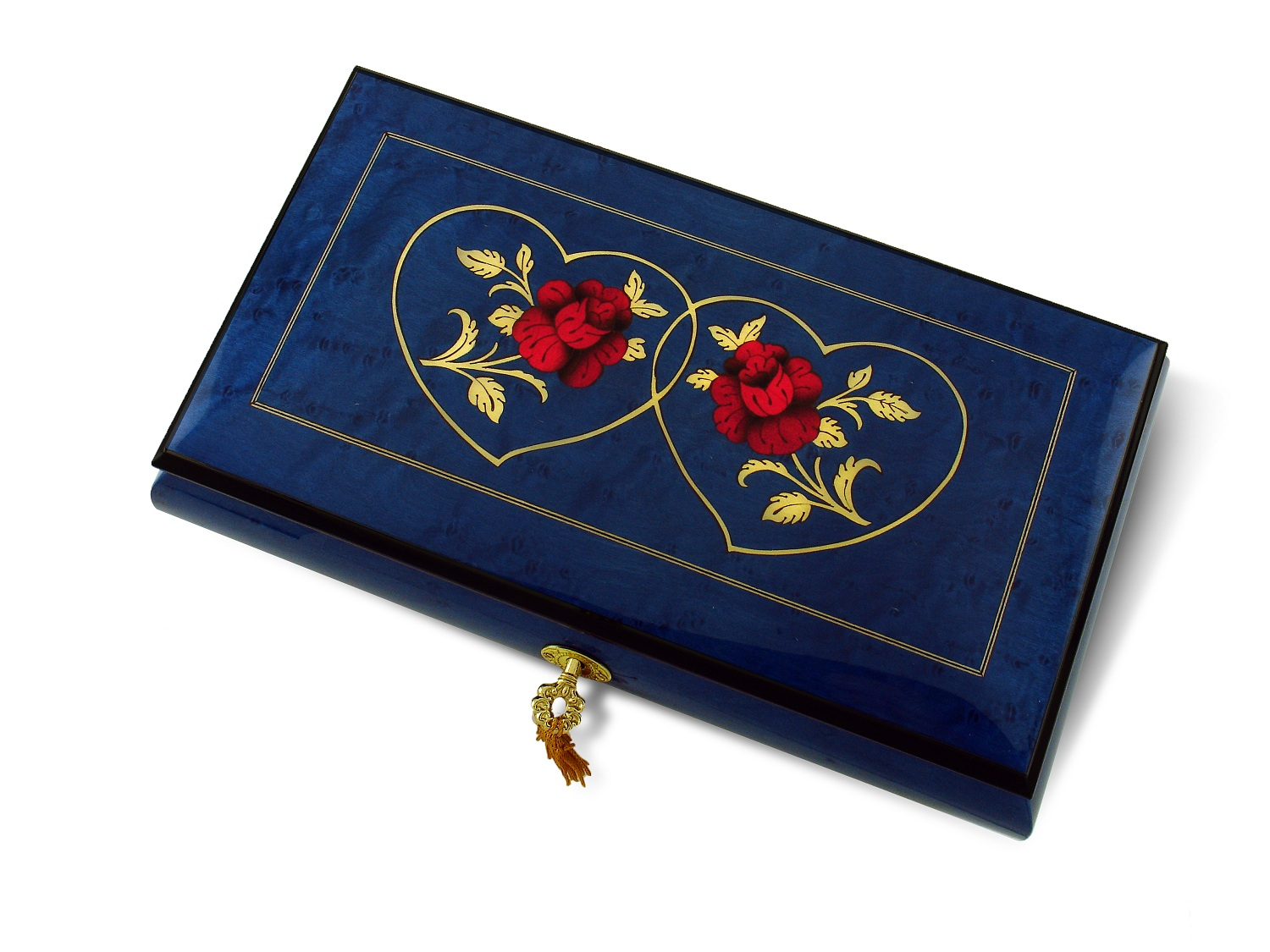 Vibrant 30 Note Royal Blue Double Red Rose and Heart Musical Jewelry Box with 30 Note Tune-Love is Blue