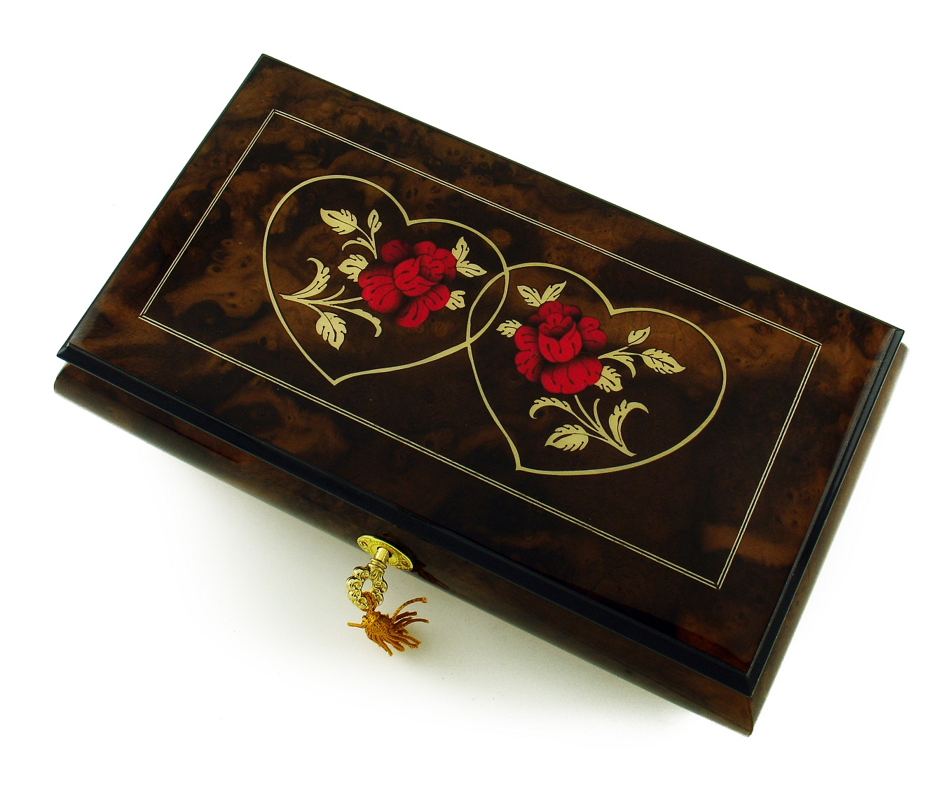 Romantic 30 Note Walnut Tone Double Red Rose and Heart Musical Jewelry Box with 30 Note Tune-Edelweiss