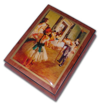 Ballerina Dance Lessons Theme Inlaid Ercolano Art Music Box with 18 Note Tune-French Can Can