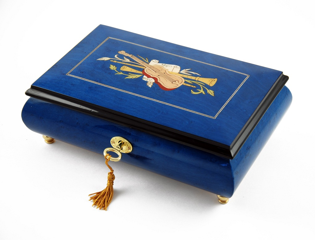 Impressive Royal Blue Instrument and Floral Wood Inlay Musical Jewelry Box with 18 Note Tune-Chicago