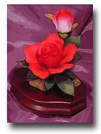 "Striking Detailed ""Cupid"" Red Rose on Dark Wooden Base  with 18 Note Tune-My Way"