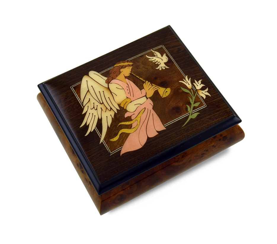 The Wood Inlay Design Features An Angel Playing A Horn / Duduk  with 18 Note Tune-Through the Eyes of Love – NEW