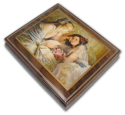 Two Young Girl Friends Ercolano Music Box with 18 Note Tune-O Canada