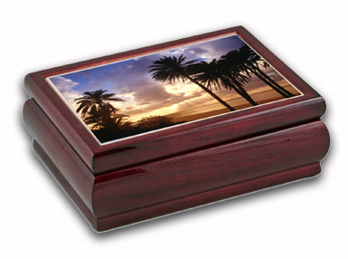 Exquisite Palm and Sunset View In A Music Jewelry Box, with 18 Note Music Movement! with 18 Note Tune-We Are the Champions