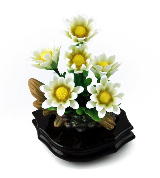Exquisite Musical White Porcelain Daisies with Rosewood Base with 18 Note Tune-Getting to Know You
