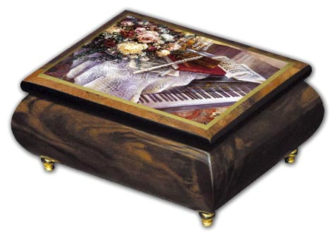 Wonderful Piano Inlaid Ercolano Musical Jewelry Box with 18 Note Tune-Amazing Grace, Judy Collins