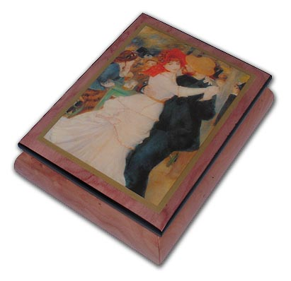 Couple Dancing Theme Inlaid Ercolano Art Musical Jewelry Box with 18 Note Tune-God Bless the USA (Proud to be an American)