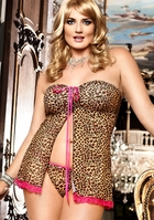Leopard Mesh Babydoll with G-string