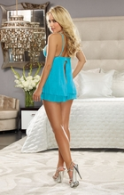 Sweetheart Lace and Mesh Babydoll and Thong