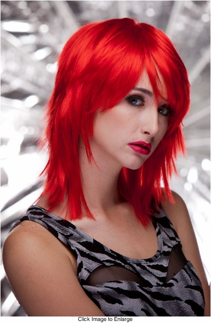 Vamp Shoulder Length Wig in Firecracker Red