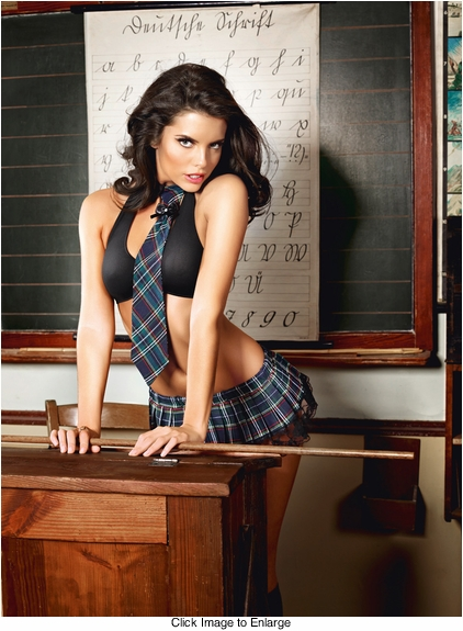 Schoolgirl Lingerie Costume with Bra, Skirt, Collar and Tie