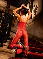 Red Floral Fishnet Bodystocking with Spaghetti Straps