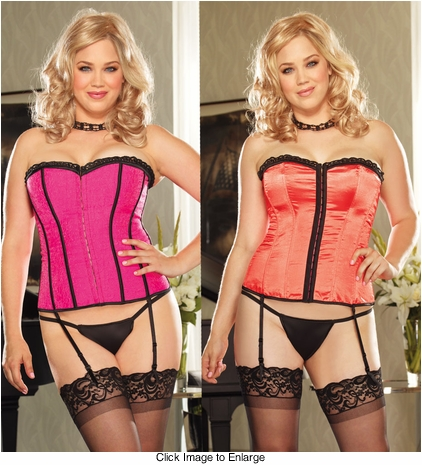 Plus Size Reversible Hot Pink to Coral Satin Corset