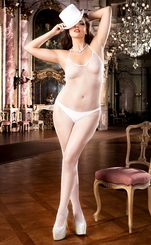 White Fishnet Bodystocking with Halter Front