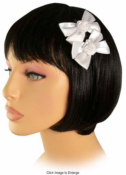 "3"" Double White Satin Bow Hair Comb"