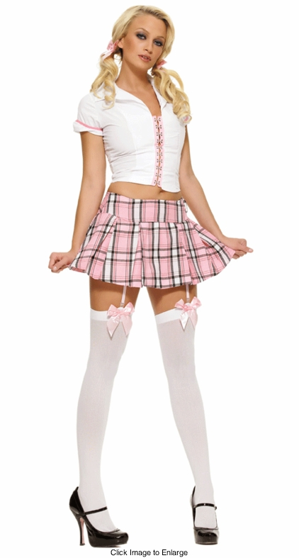 Schoolgirl Costume in Pink Plaid with Back Lacing