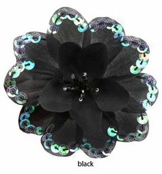 Black Flower Hair Clips