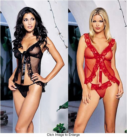 Sheer Mesh Babydoll with Lace Trim