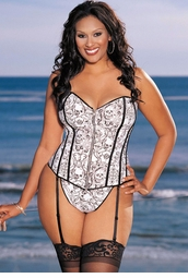 Plus Size White Skull Corset with Zipper Front