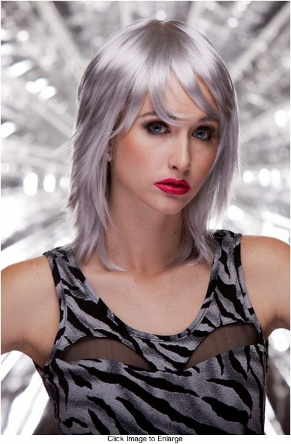 Edgy Shoulder Length Wig in Chrome