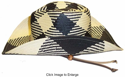 Vintage Style Cowgirl Hat in Black and Natural Checker