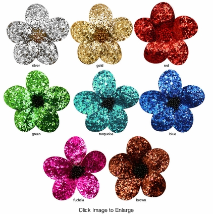 "3"" Wide Glitter Flower Hair Clip"