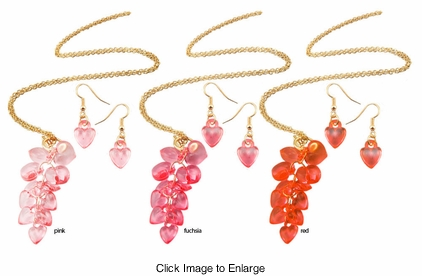 Heart Cascade Necklace and Earrings