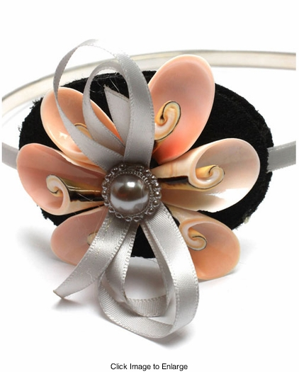 Headband with Seashell Fascinator and Satin Bow