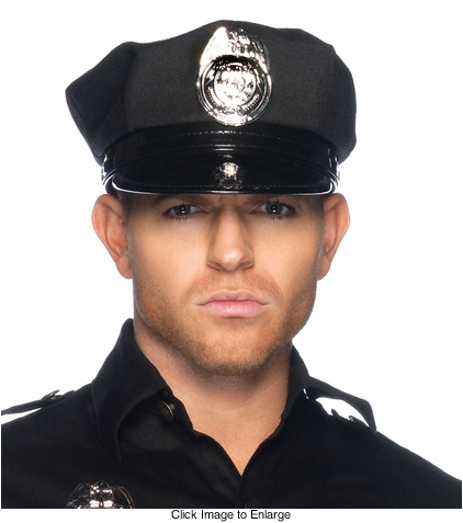 Man's Vinyl Cop Hat with Badge