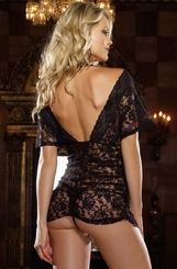 Stretch Lace Black Chemise with Shirring and Thong