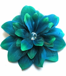 "5.5"" Flower Hair Clip with Crystal Center (available in  6 colors)"