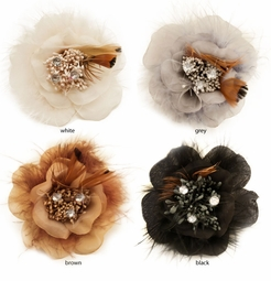 "3.5"" Feathery Flower Hair Clip with Crystal Center"