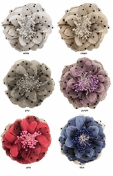 "4"" Flower Hair Clip with Polka Dot Chiffon"