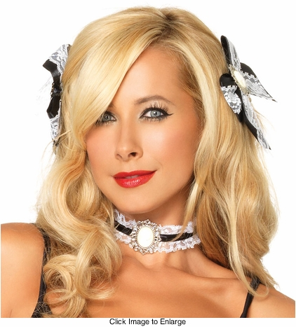 French Maid Hair Bows and Choker