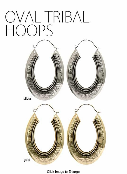 Oval Tribal Hoops