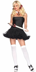 School Girl Costume Kit with Ruler Crop, Plaid Tie and Hair Bows