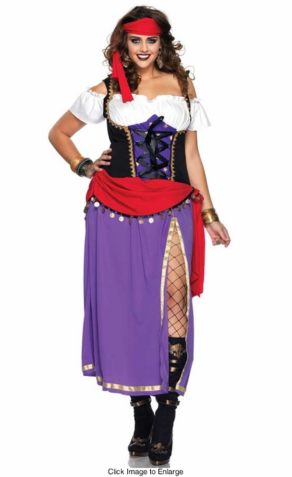 Plus Size 2-Piece Travelling Gypsy Costume