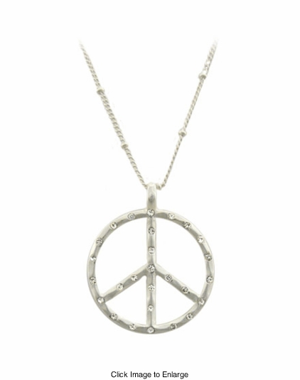 Jeweled Peace Sign Necklace