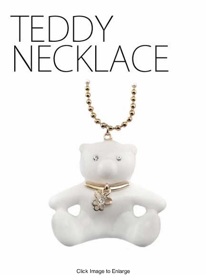 Jeweled Teddy Bear Necklace