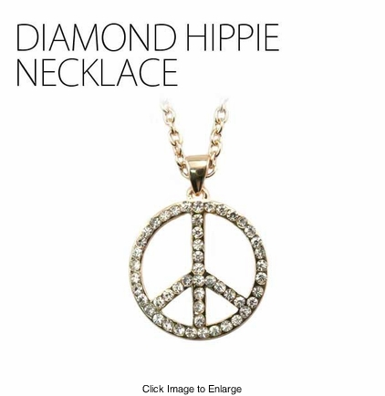 Gold Tone Hippie Peace Sign Necklace