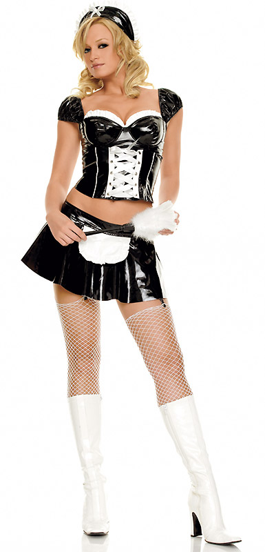 Black Vinyl French Maid Costumes