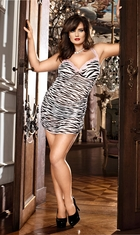 Zebra Mesh Mini Dress with Pink Lace Trim