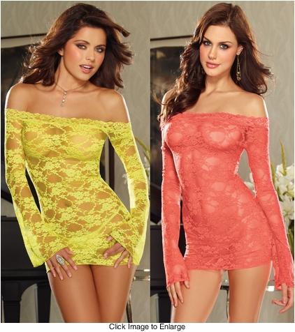 Lime and Coral Lace Off Shoulder Mini Dress