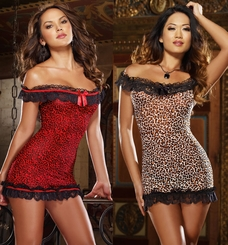 Off Shoulder Leopard Mesh Mini Dress and Thong