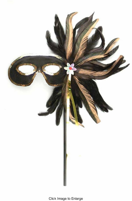 Costumes-Luxe Mask with Sequins, Feathers and Long Handle
