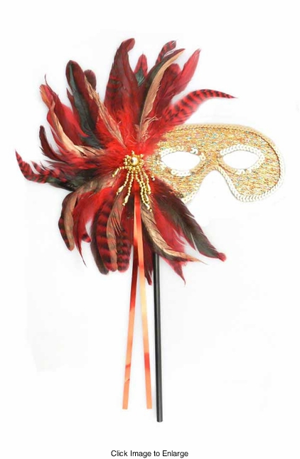 Costumes-Allegria Gold and Red Feather Mask with Handle