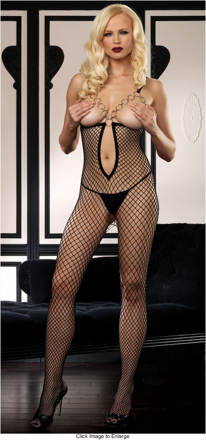 Net Peek-a-Boo Bodystocking with O-Ring