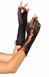 Lace-Up Fingerless Gloves