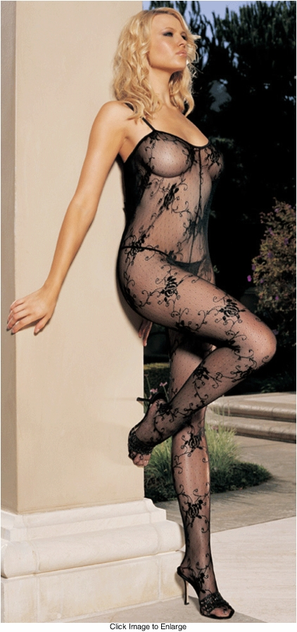 Rose Bud Lace Bodystocking with Lace Up Back
